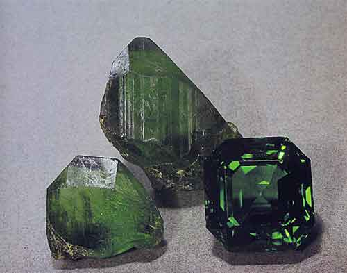 Peridot Rough and Cut photo image