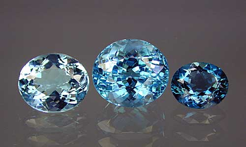 Three Examples of Treated Blue Topaz photo image