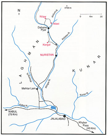 Map of Laghman-Kunar Pegmatite Mining District in Nuristan, Afghanistan