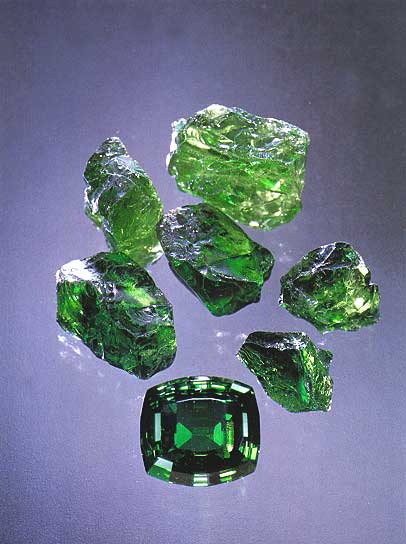 Tsavorite Harnet Rough and Cut photo image