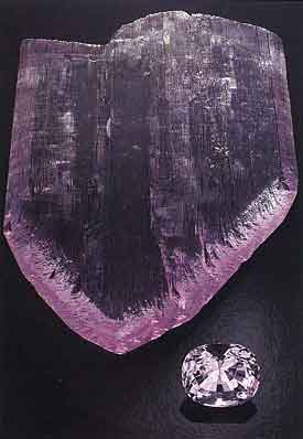 Kunzite Crystal and Faceted photo image