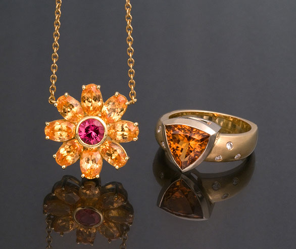Garnet Pendant and Ring photo image