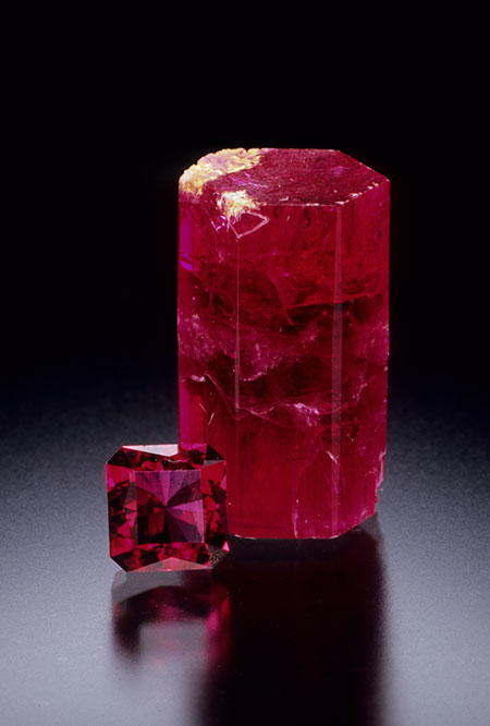 Rough and Cut Red Beryl photo image