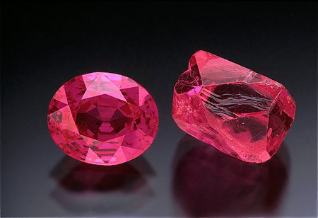 Ruby Rough and Cut photo image