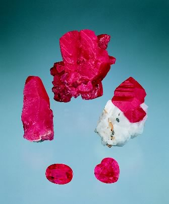 Rough and cut rubies