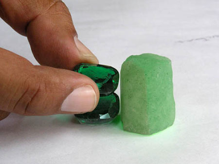 Faceted Emeralds and Crystal Mold photo image