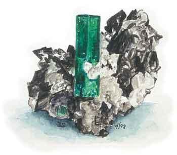 Emerald watercolor image