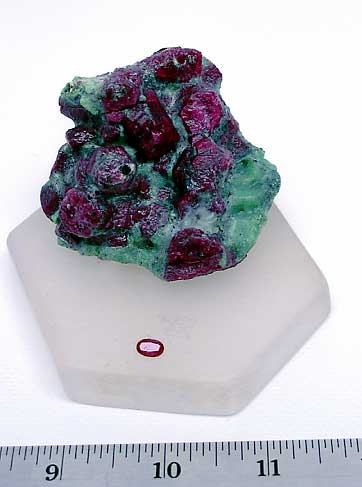 Small Faceted Longido Ruby with Large Ruby Crystal Cluster with Attached Green Zoisite photo image